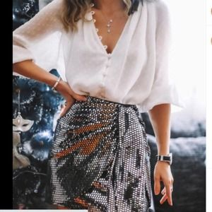 ZARA Sparkly Knotted Skirt Silver New